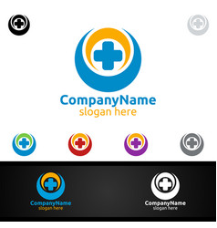 cross medical hospital logo for emergency clinic vector image