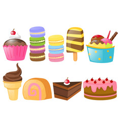 different types of sweet desserts vector image