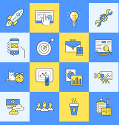 Digital yellow and blue startup vector