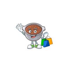 Dish baked beans with cartoon shopping mascot vector