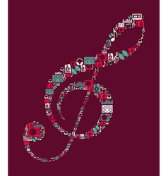 Dj Music icons treble clef vector