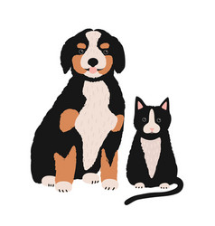 dog and cat isolated on white background cute vector image