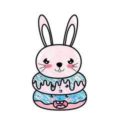 doodle kawaii cute rabbit head and donuts vector image