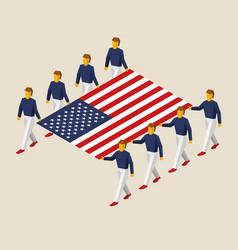 eight people hold big usa flag vector image