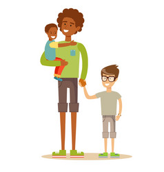 father with his two children having a nice time vector image