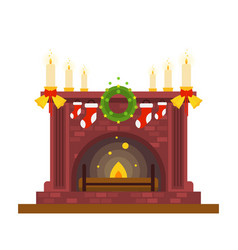 Fireplace and candles christmas and new year vector