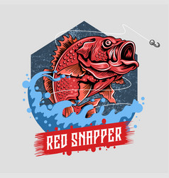 fish red snapper bass angler artwork vector image