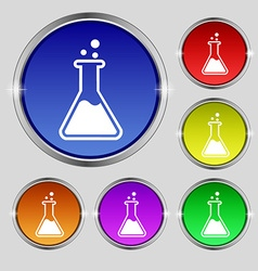 Flask icon sign Round symbol on bright colourful vector