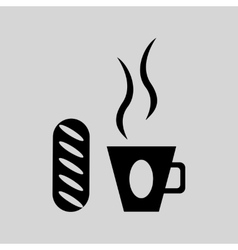 Flat in black white coffee and bun vector