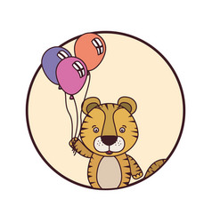 Frame with cute tiger and balloons helium vector