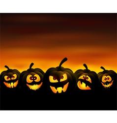 Funny pumpkins vector