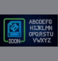 Glowing neon msg file document download msg vector