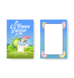 greetings card with an easter bunny and a huge vector image
