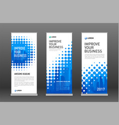 Halftone roll up banner design templates set vector
