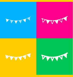 holiday flags garlands sign four styles of icon vector image