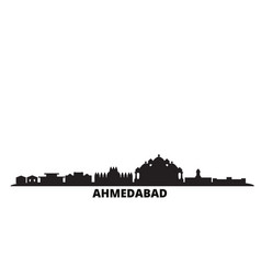 India ahmedabad city skyline isolated vector