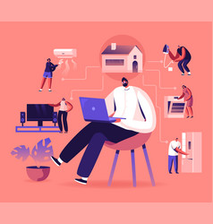 internet things smart home app network vector image