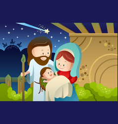 joseph mary and baby jesus for nativity concept vector image