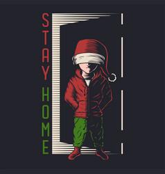 kids stay home christmas vector image