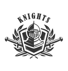 knights emblem template with medieval knight vector image