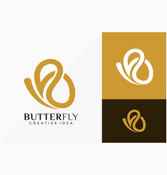 Luxury line art butterfly logo design abstract vector