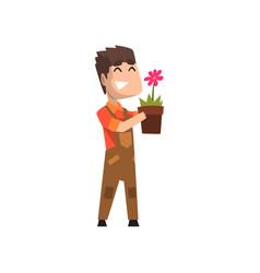 Male florist holding flowerpot hobor vector
