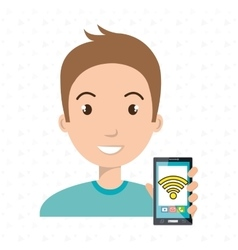 Man cellphone wifi connected vector