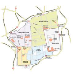 map old city jerusalem vector image
