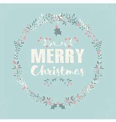 Merry Christmas postcard with lettering and floral vector image