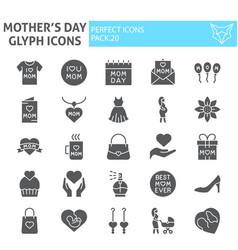 mothers day glyph icon set motherhood symbols vector image