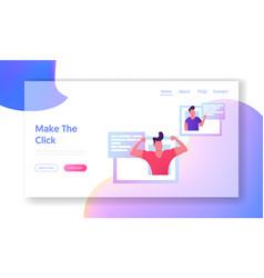 online dating website landing page young men vector image