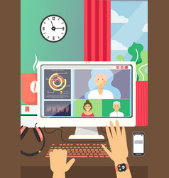 Online video conference technology flat vector