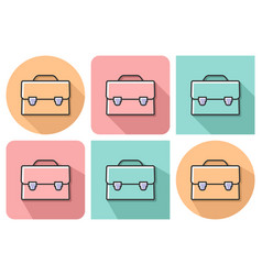 outlined icon of briefcase with parallel and not vector image