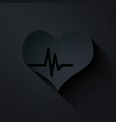 paper cut heart rate icon isolated on black vector image