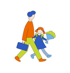 Parent takes child to school vector