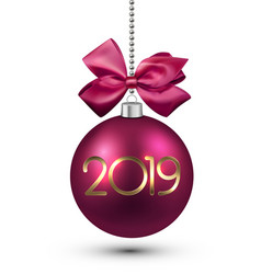 Pink 2019 new year christmas ball with satin bow vector