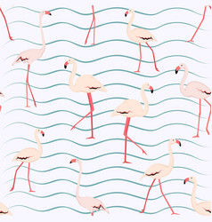 pink flamingo seamless pattern on white background vector image