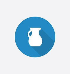 Pitcher Flat Blue Simple Icon with long shadow vector