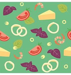 Pizza Seafood Pizza ai frutti di mare Ingredients vector image