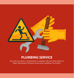 Plumbing service promotional poster with tools and vector