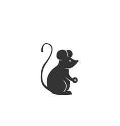 rat silhouette black vector image