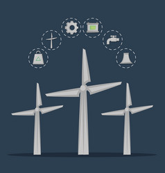 renewable energy from wind turbines vector image