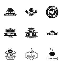 Republic of china logo set simple style vector
