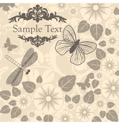 Retro background with stylized flowers and insects vector