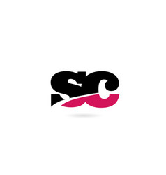 Sc s c pink and black alphabet letter combination vector