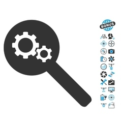 Search Gears Tool Icon With Copter Tools Bonus vector image