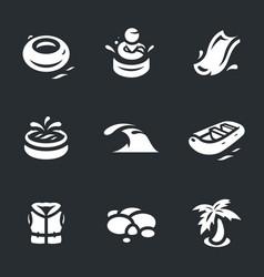 set aqua park icons vector image