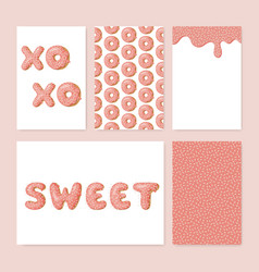 Set cute donut cards donut with pink glaze vector