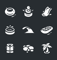 Set of aqua park icons vector