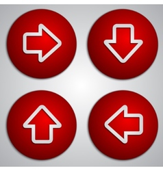 Set of round red arrow buttons with paper cut vector
